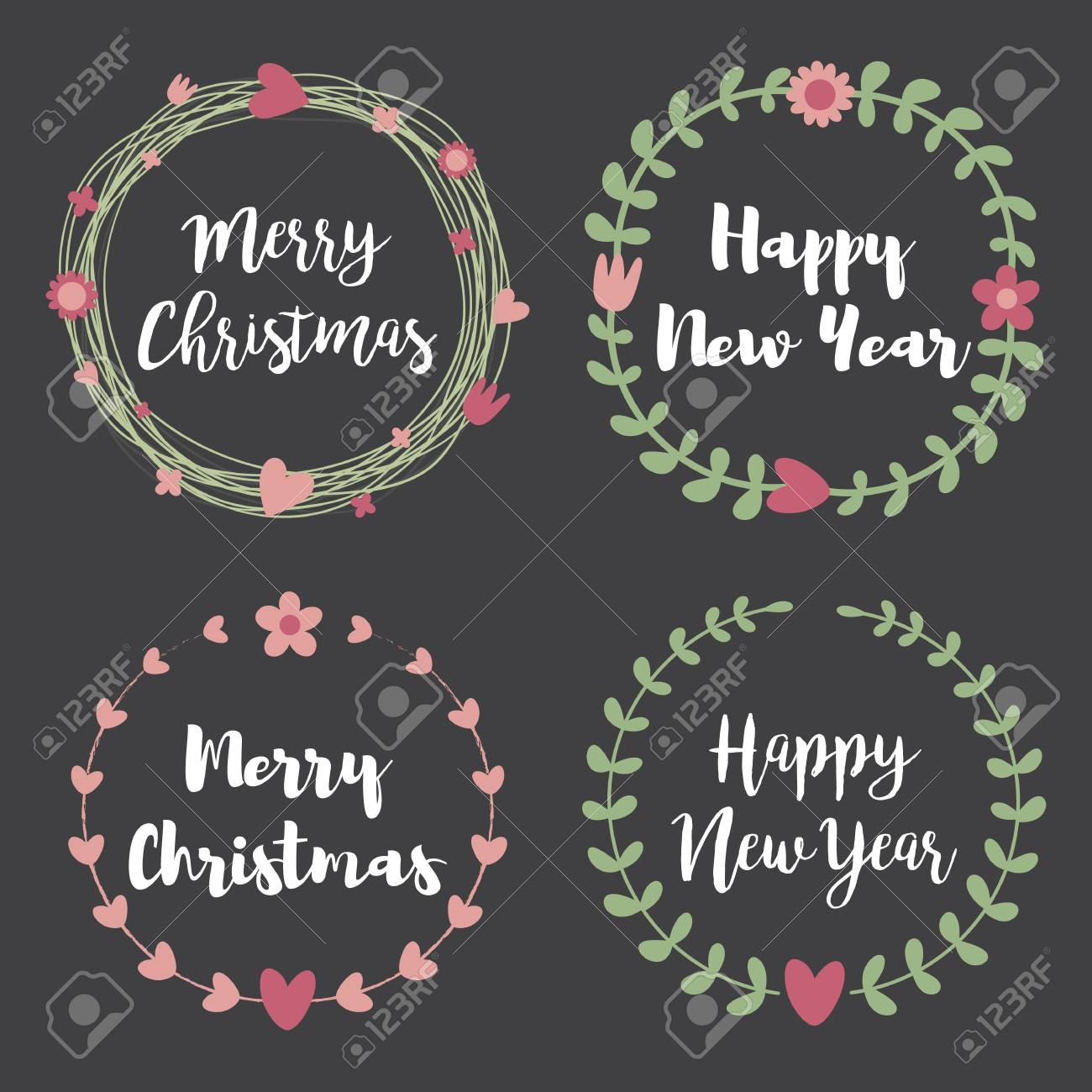 Merry Christmas Labels.Christmas Labels And Badges Set Of Floral Wreath Frame For Merry