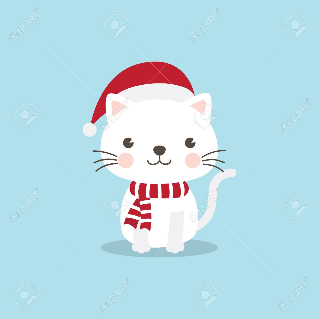 Christmas Cat Kitten cartoon character. A Cute Kitten standing..