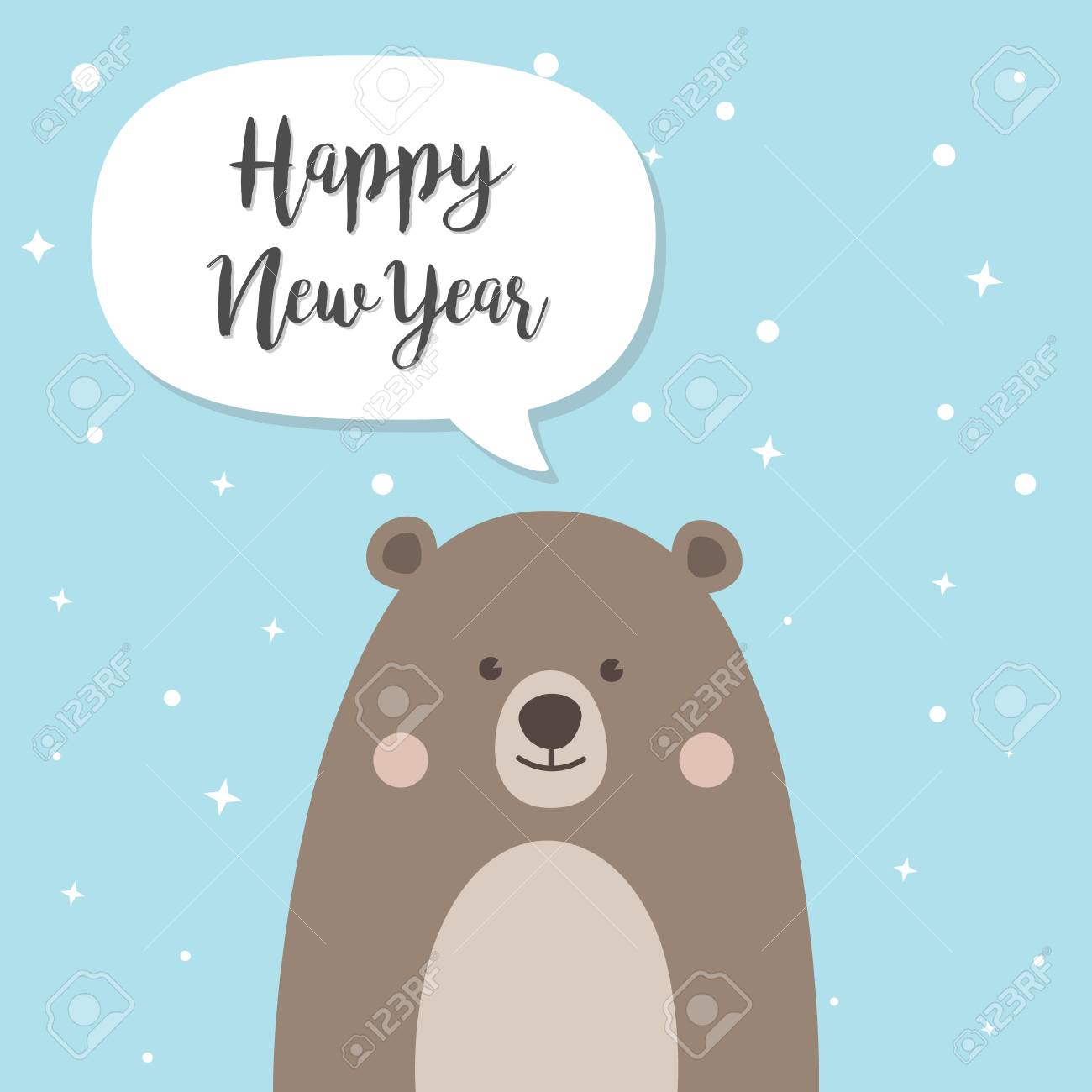 happy new year and christmas bear cartoon character a cute brown teddy bear with santa