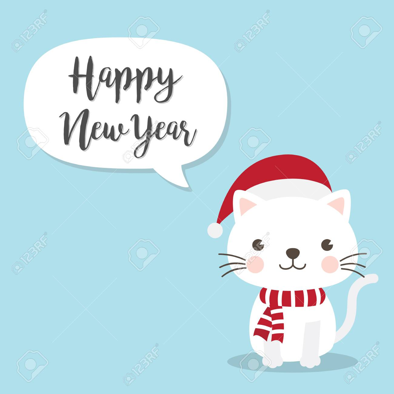 Christmas Cat Kitten cartoon character. A Cute Kitten standing..