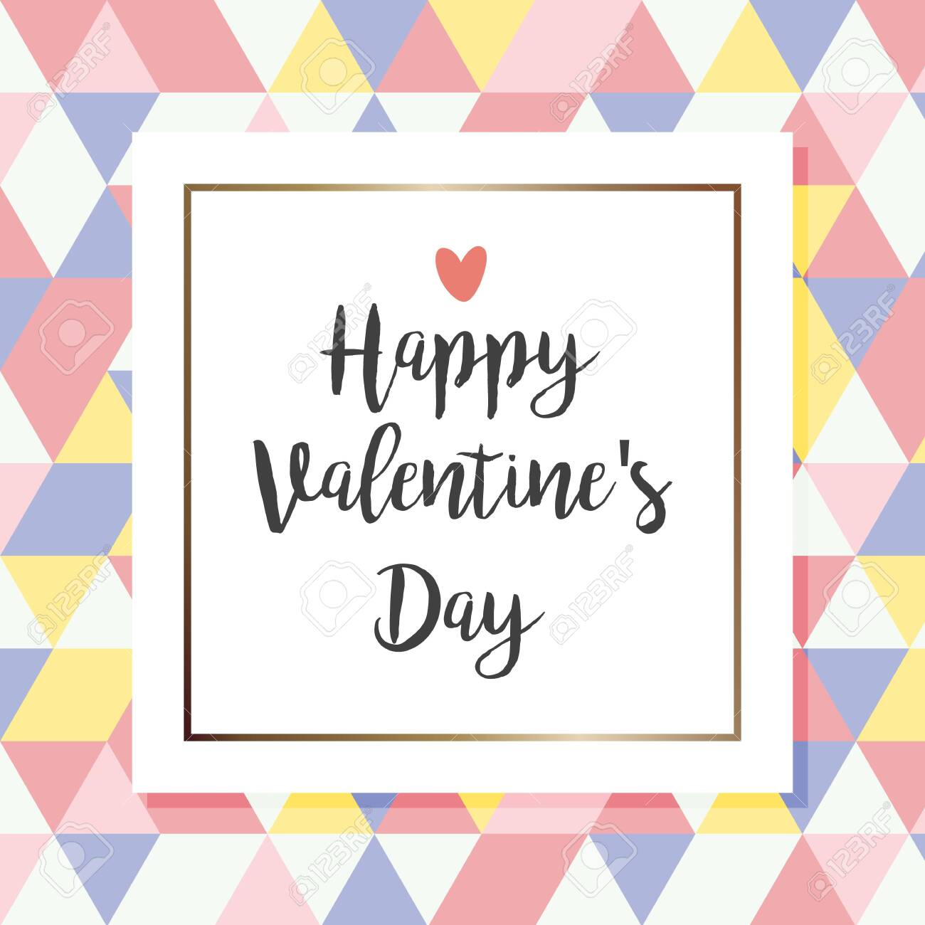 Happy Valentines Day Hand Drawing Calligraphy Lettering Geometric