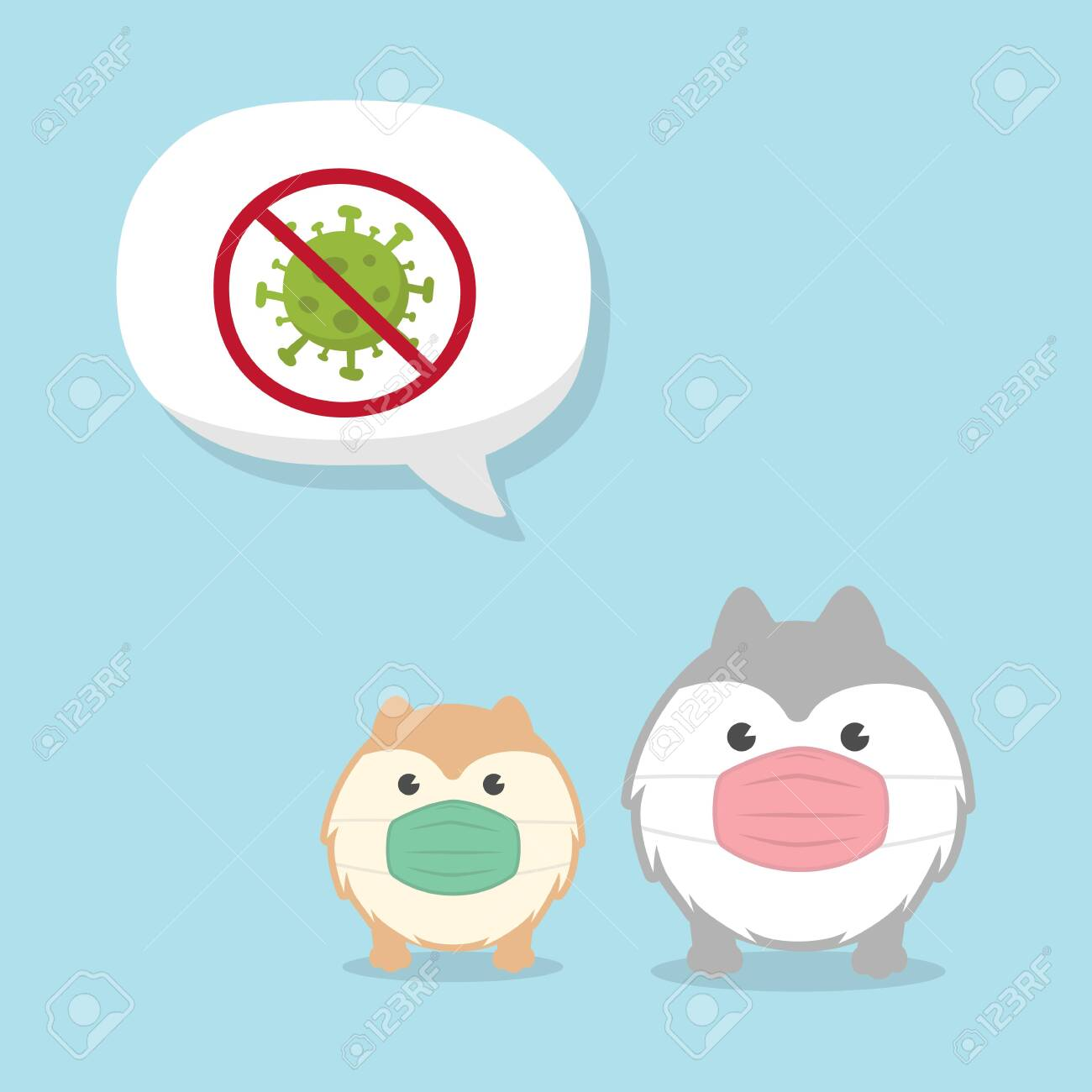 Cute Fluffy Dogs wearing medical mask. Coronavirus (COVID-19) Vector Illustration. - 144059256