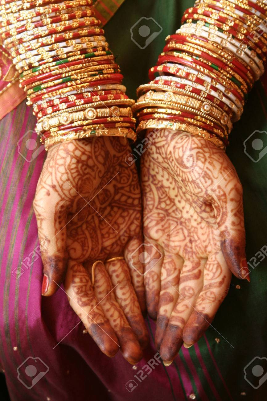 Indian Bride Hands With Henna And Bangles Indian Wedding Stock