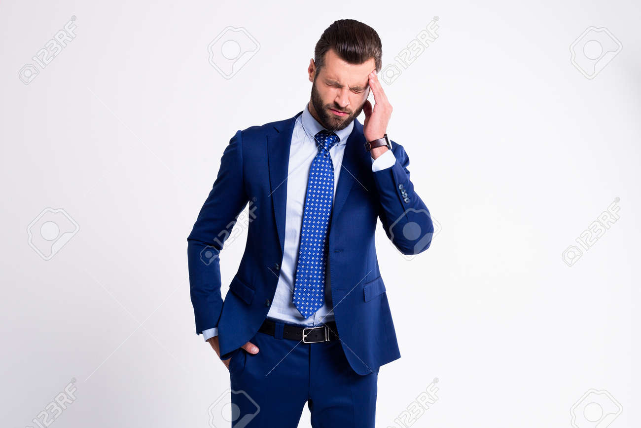 When your life is full of problems. Handsome young man looking frustrated while standing against white background - 158045955