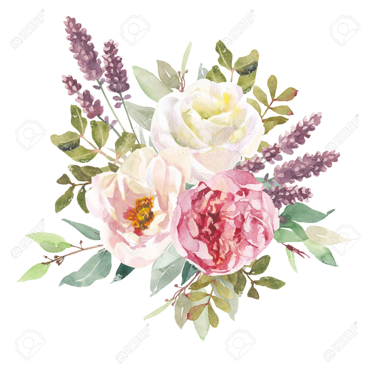 Watercolor flowers bouquet isolated on white background. Can be used as greeting card, invitation card for wedding, summer background, birthday and other holiday. Element for design - 149668451