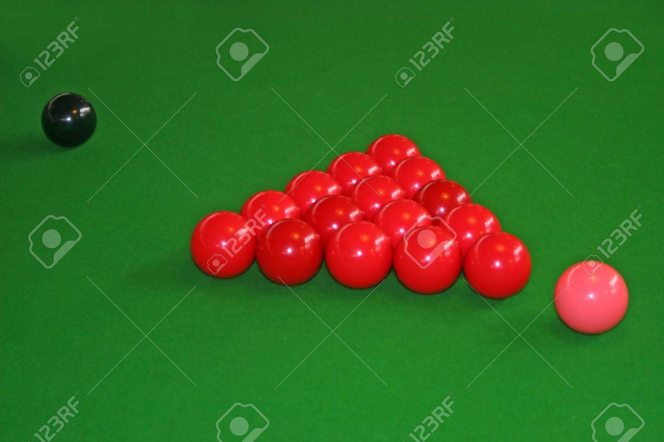 Snookers Balls set up on a snooker Stock Photo - 8764605 & Snookers Balls Set Up On A Snooker Stock Photo Picture And Royalty ...