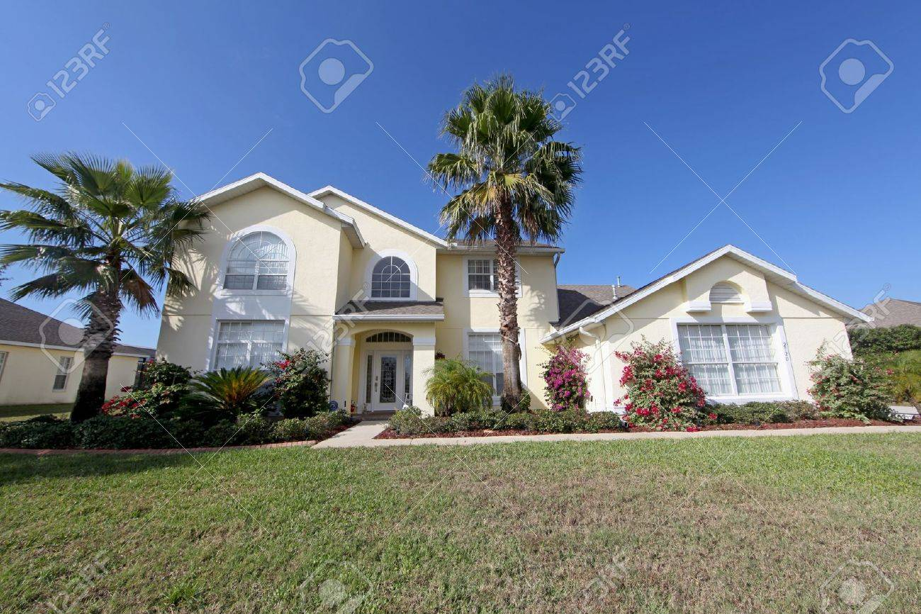 A Front Exterior of a Large Florida Home Stock Photo - 10185034