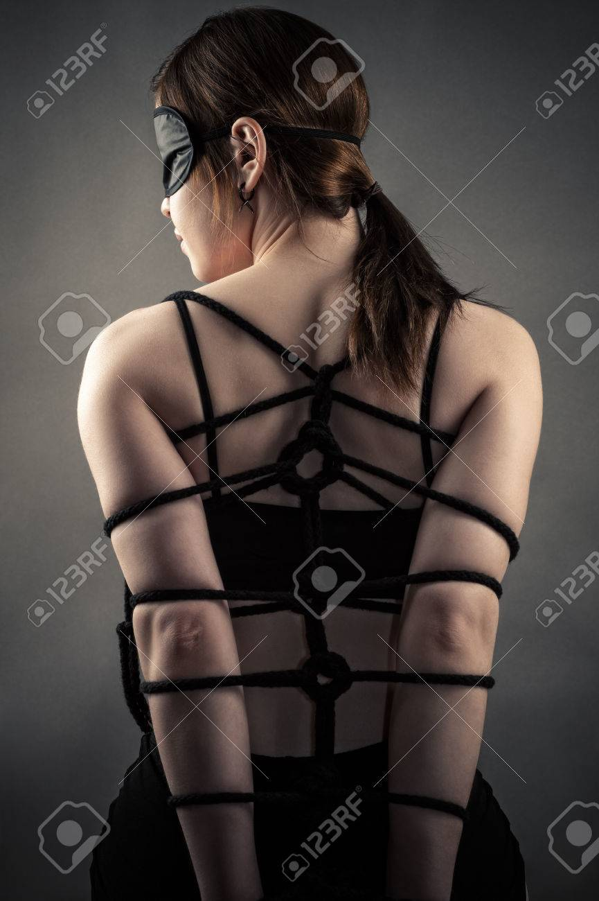 Sexy Woman In Mask And Bondage Hands Stock Photo 78391118
