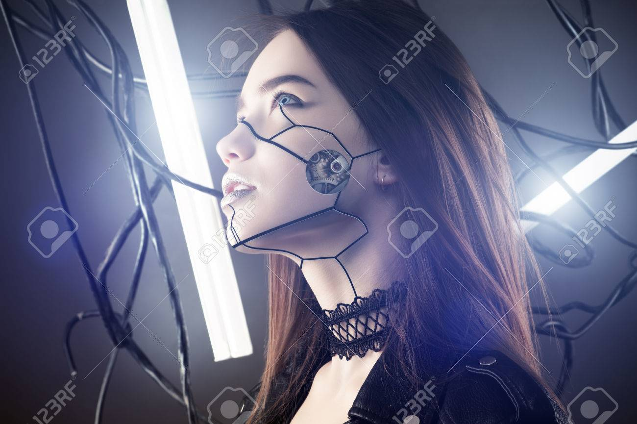 Beautiful Robot Girl In Cyberpunk Style Looking Up On Background ...