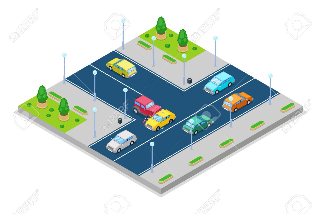 Car Accident And Crash, Vector Isometric 3D Illustration. Collision ...