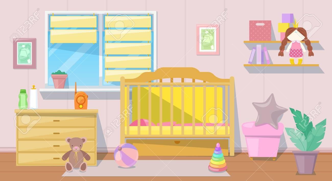 Baby girl pink room interior, vector cartoon illustration. Nursery..