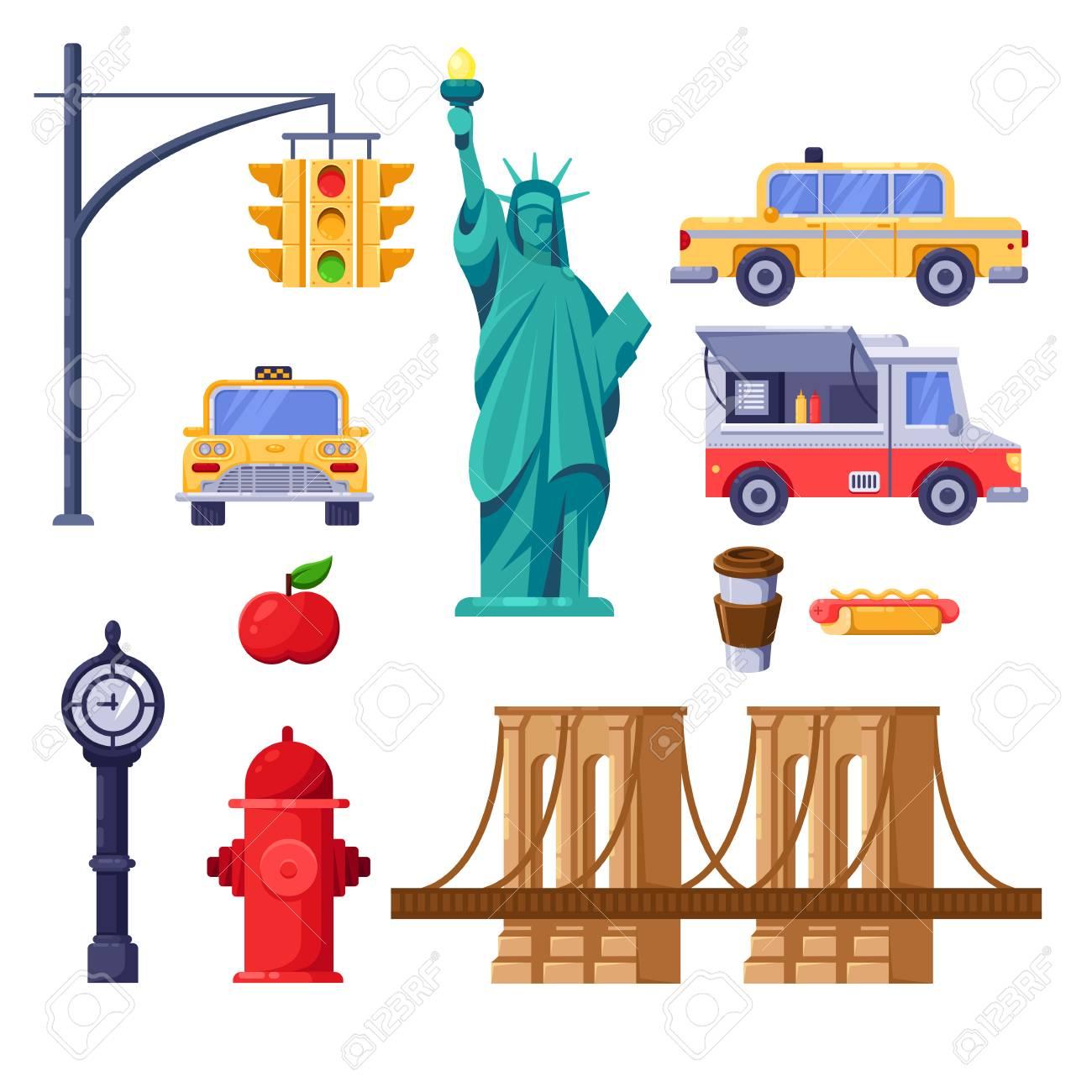 New York City Symbols Set Vector Travel Isolated Illustration