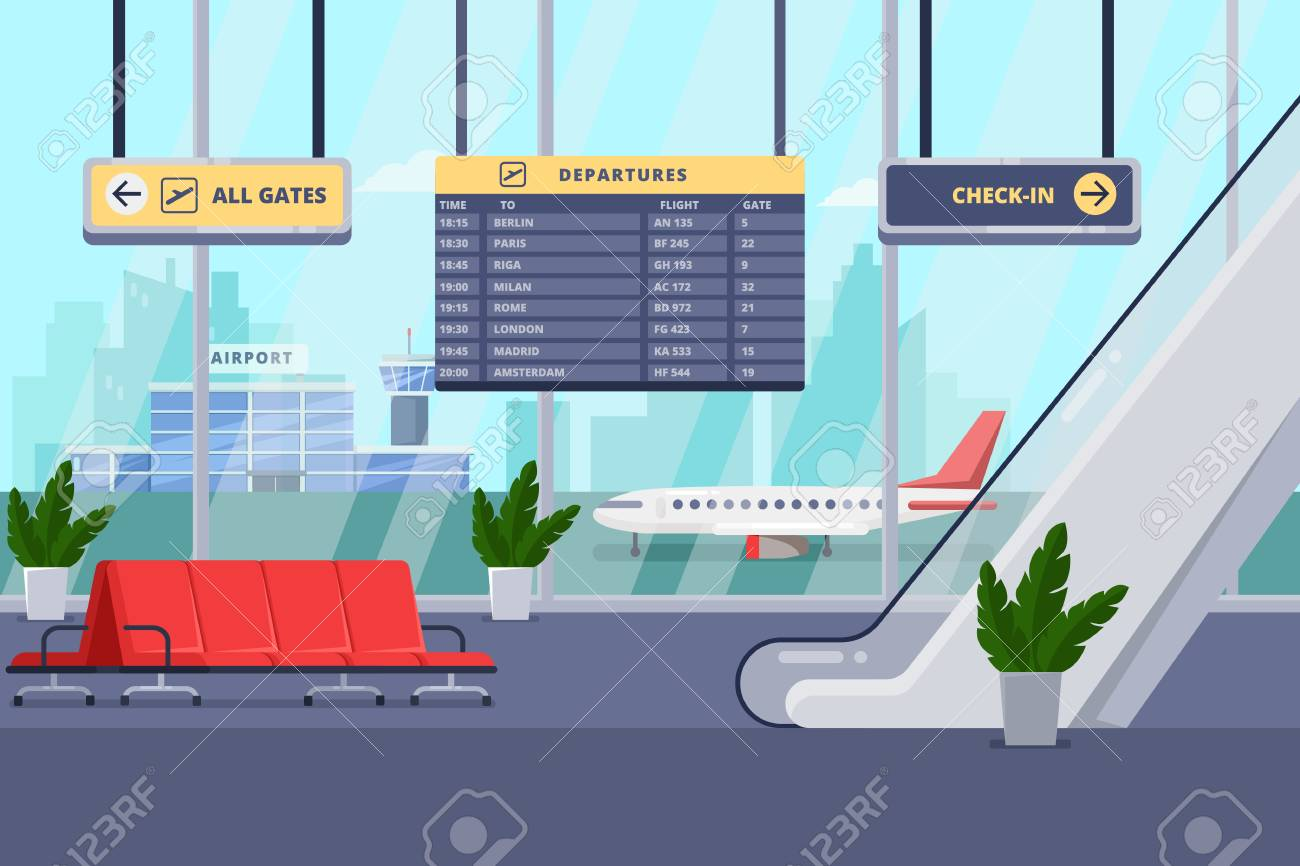 Airport terminal interior, flat illustration. Empty waiting lounge or departure hall with red chairs, escalator, panoramic window and airplane on background. - 110833323