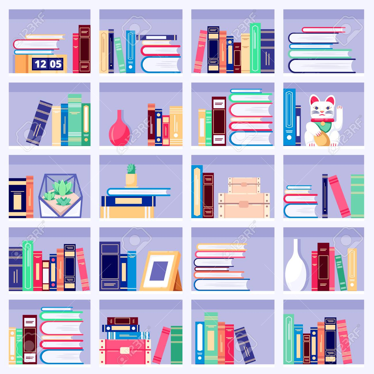Bookcase Wth Colorful Books And Home Decor On Bookshelves Vector