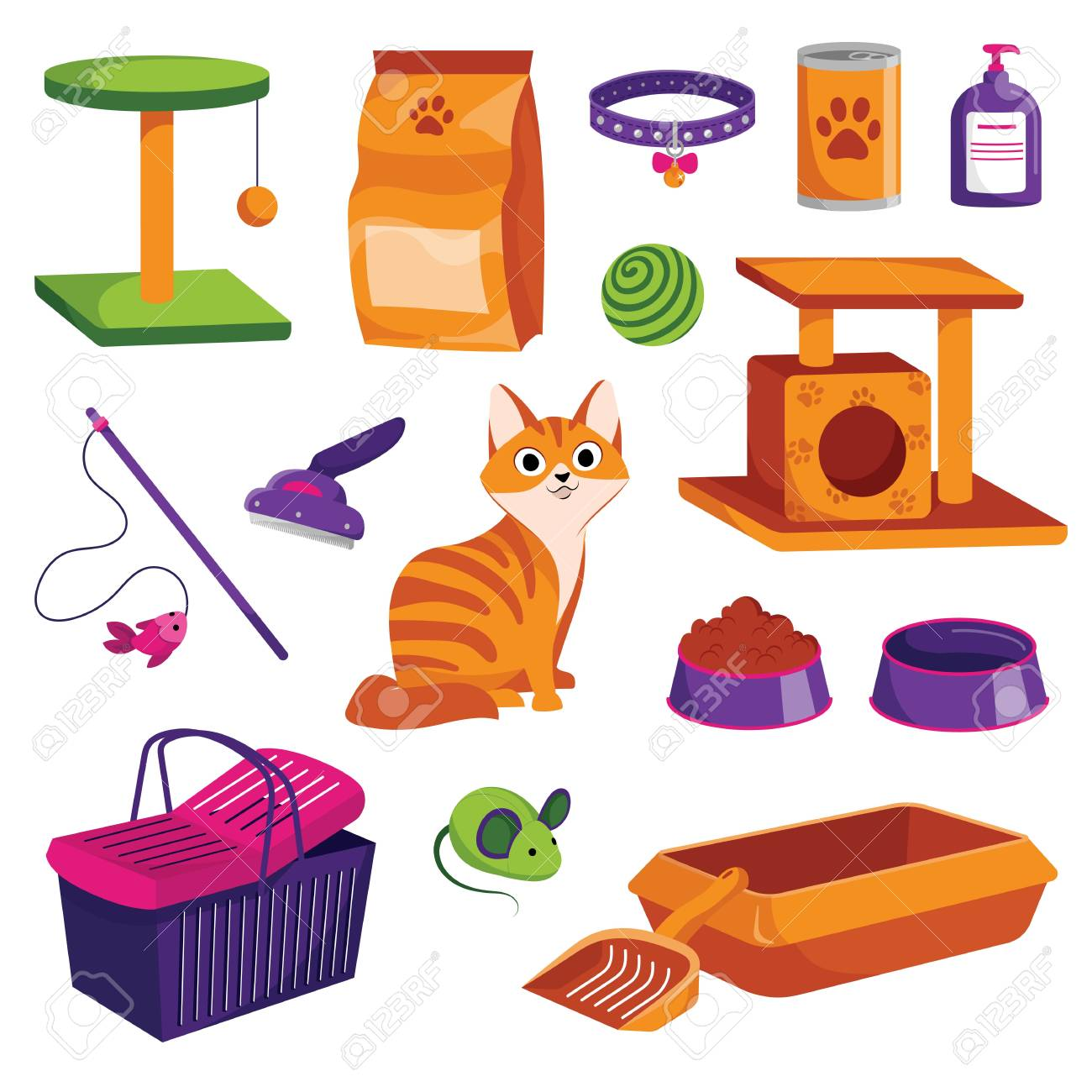 Pet shop icons set. Cat goods vector cartoon illustration. Animal food, toys, care and other stuff. - 117370041