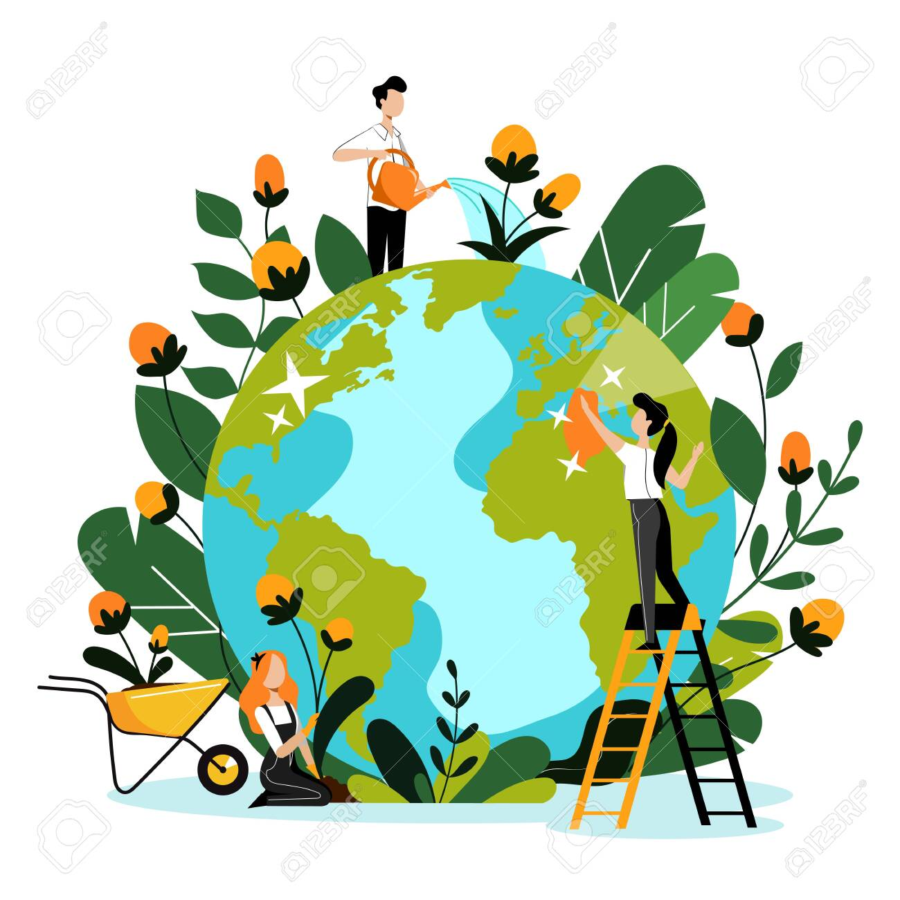 Environment, ecology, nature protection concept. Young volunteers take care of Earth planet and environmental nature. Vector flat cartoon illustration. People cleaning, watering and planting flowers. - 131429861