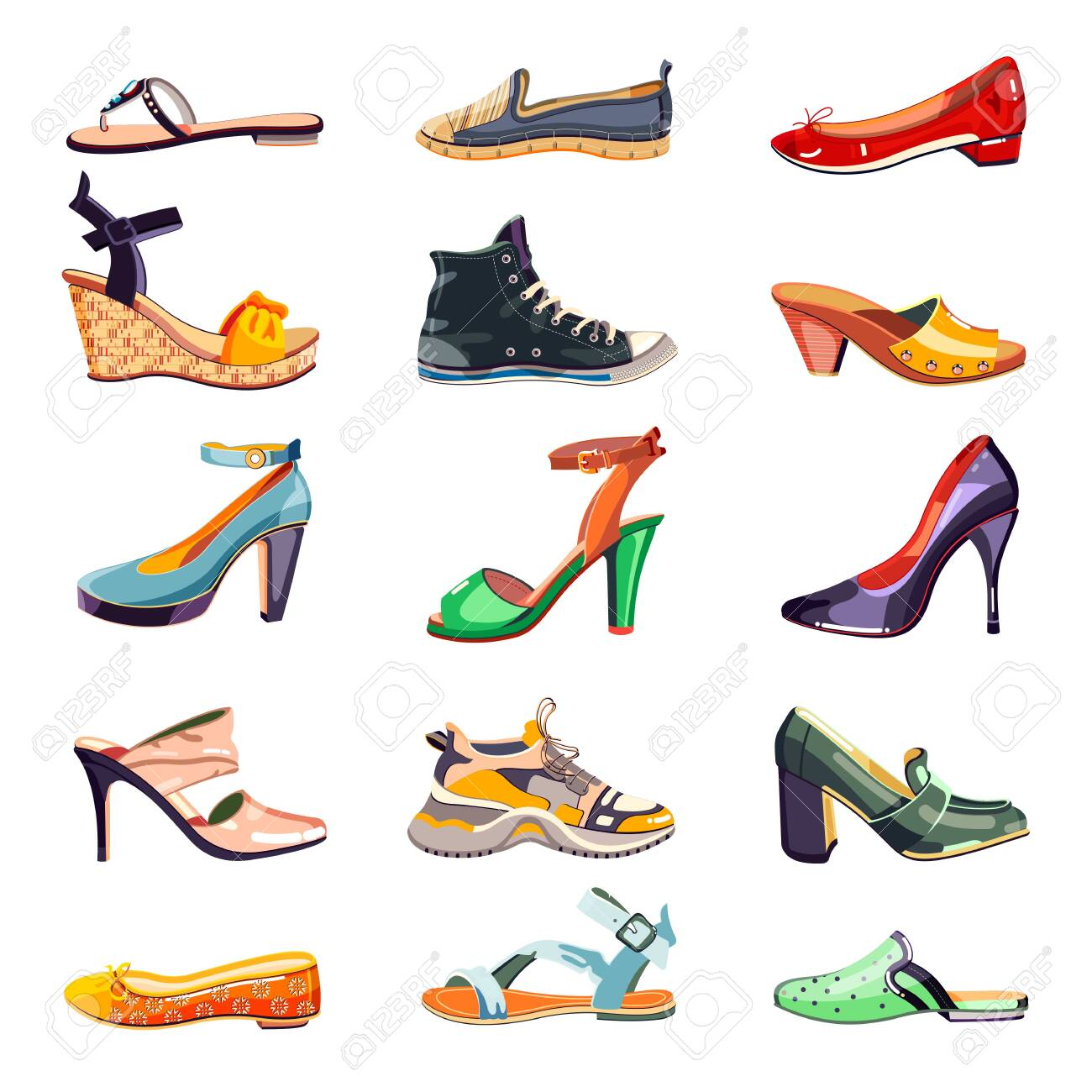 Female fashion elegant shoes icons and design elements set. Vector cartoon illustration. Summer, autumn and spring trendy footwear collection, isolated on white background. - 131429868