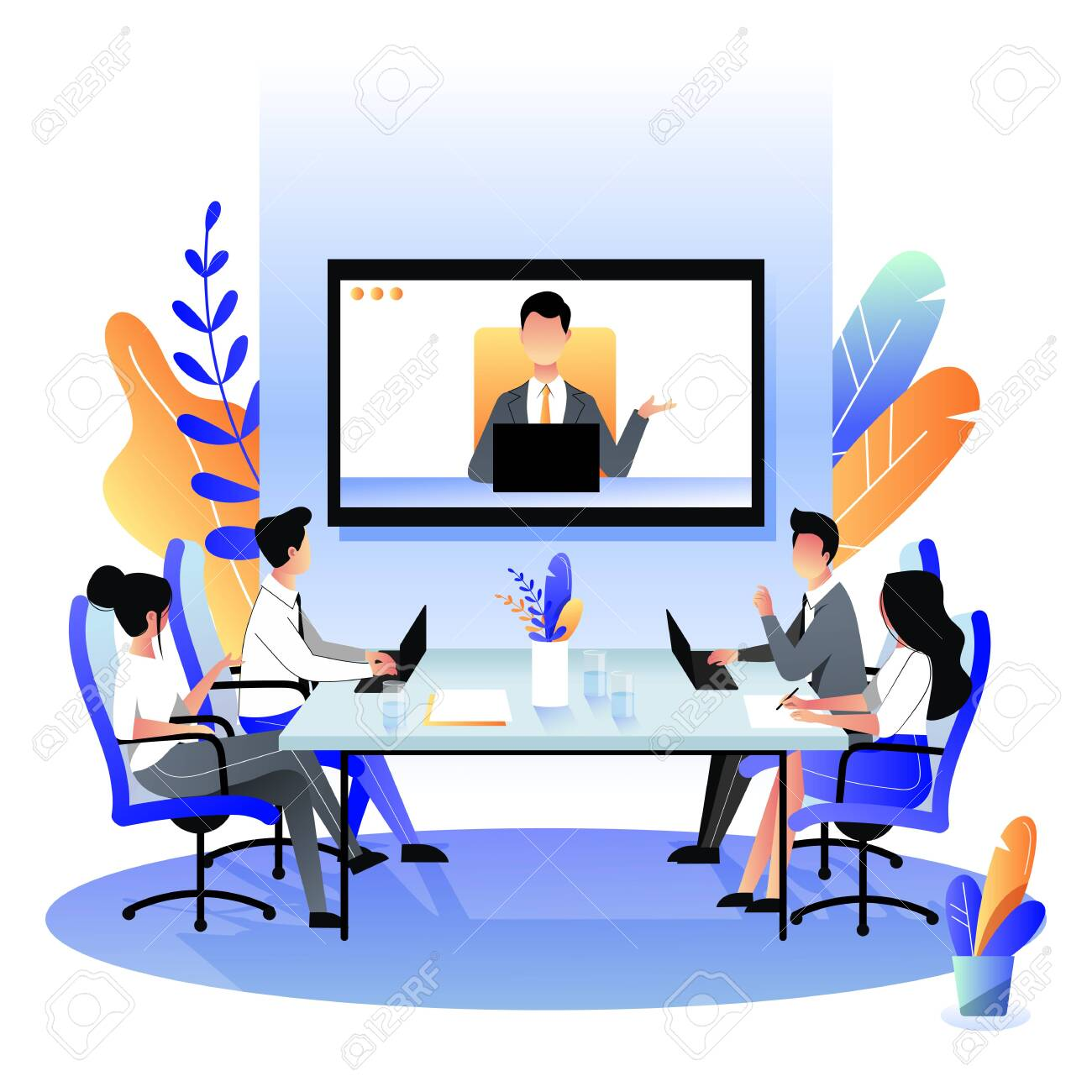 Group of businesspeople at the video conference call in boardroom. Vector flat cartoon illustration. Online meeting with CEO, manager or director. Business consulting concept. - 131429903