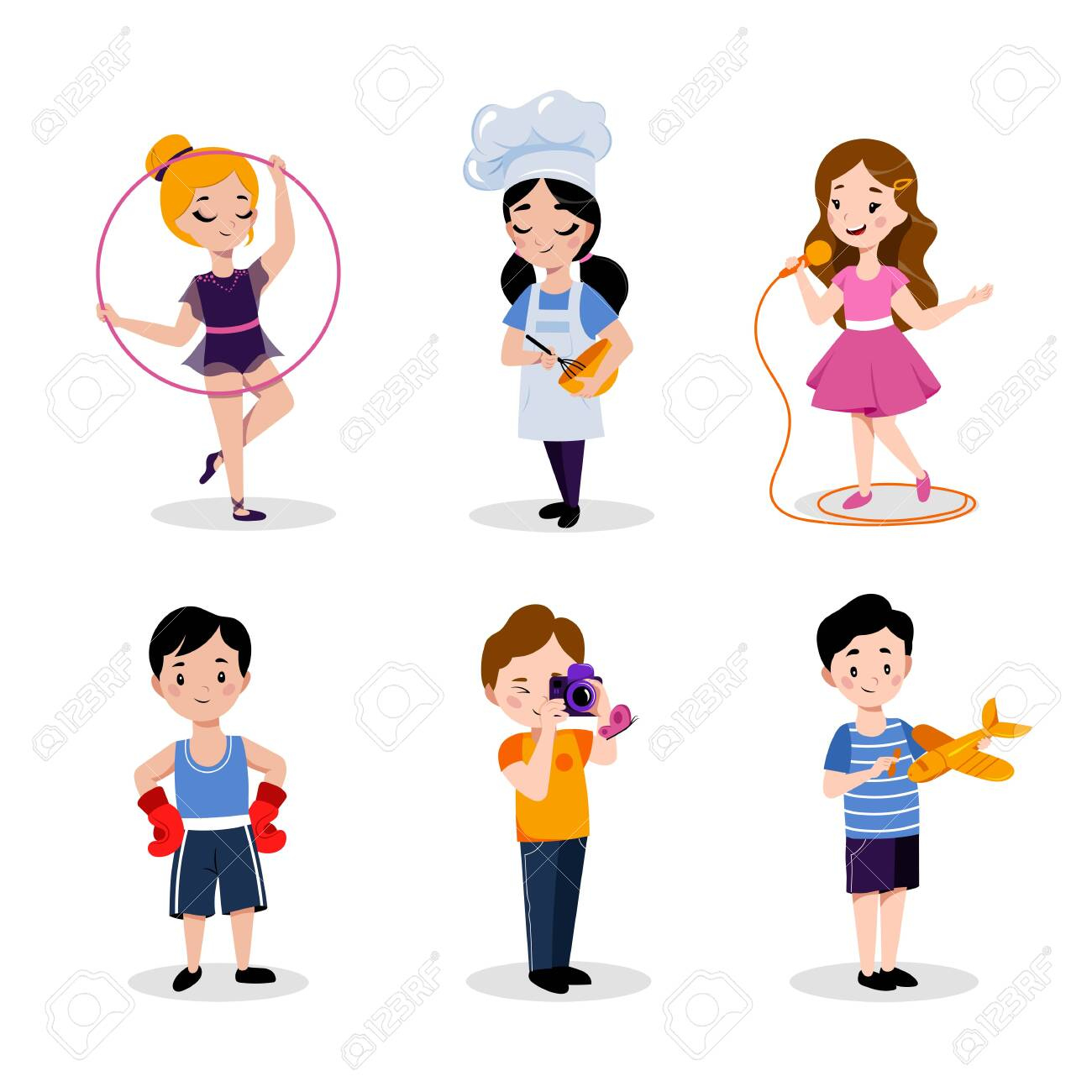 Children's hobby and education, vector flat cartoon illustration. Babies boys and girls isolated on white background. Kids leisure activities in kindergarten or preschool. - 131429929