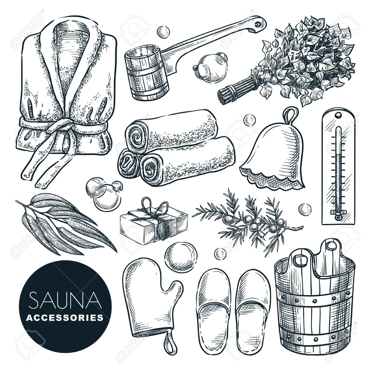 Sauna and bathhouse accessories and equipment set. Vector hand drawn sketch illustration. Bath and spa isolated design elements. Wooden bucket, birch broom, ladle and bathrobe doodle icons. - 142821477