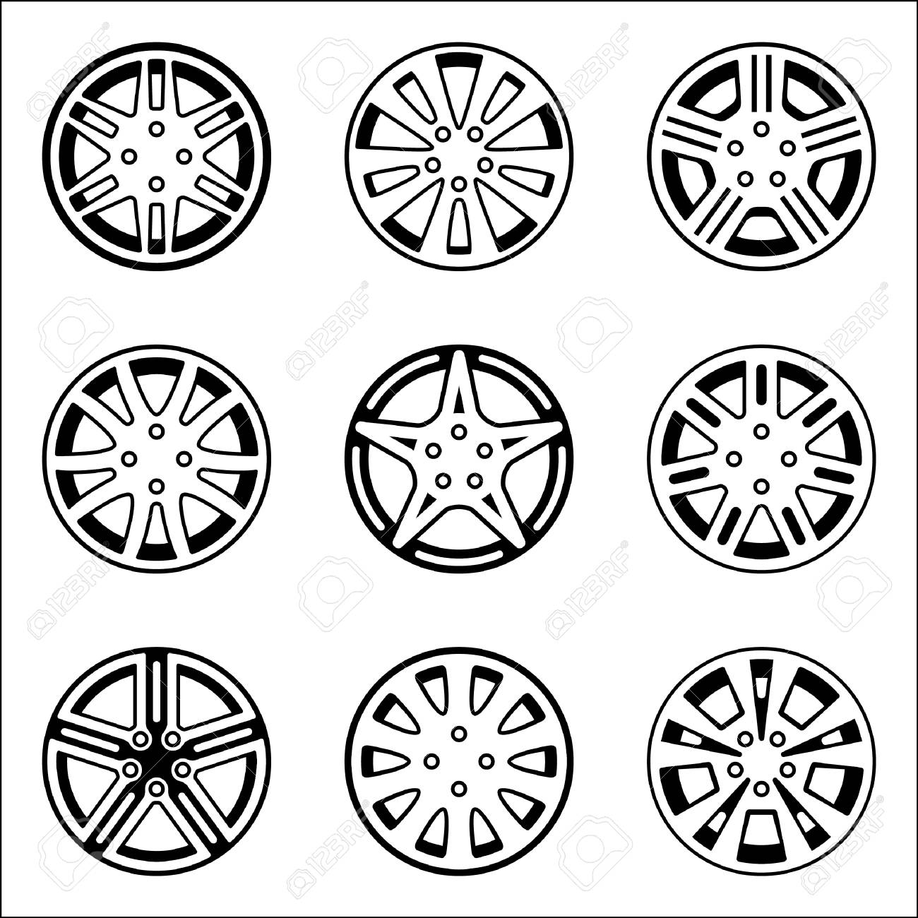 Set Of Various Types Of Car Wheel Icons Vector Illustration Royalty Free Cliparts Vectors And Stock Illustration Image 92523878