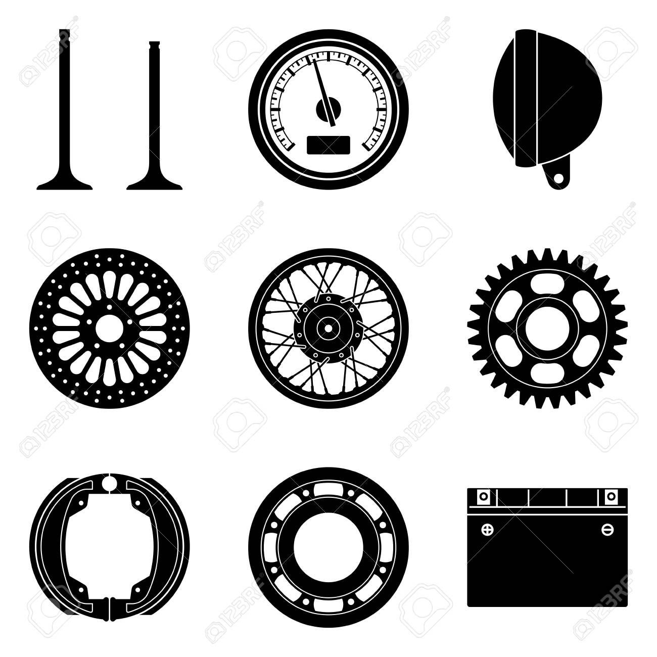Motorcycle Parts Icons Set Silhouette Vector