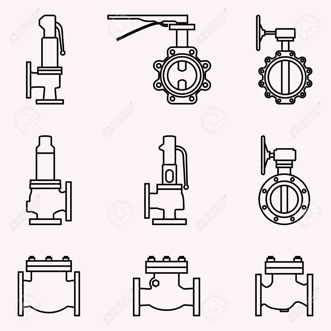 industrial valve. safety, butterfly and check valve. vector thin line - 121658110