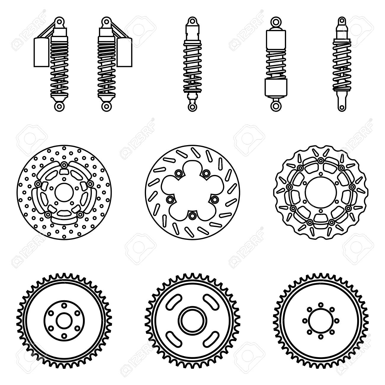 Motorcycle Parts Suspension And Brake Vector Illustration