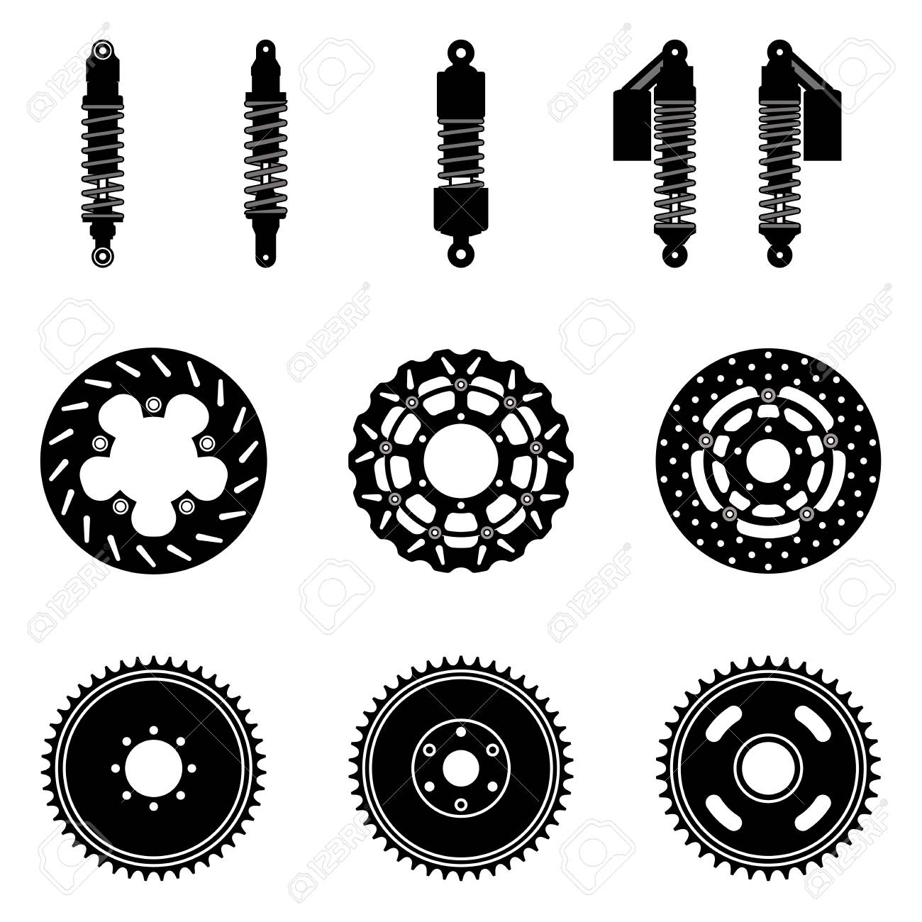 Motorcycle Parts Suspension And Brake Silhouette Vector