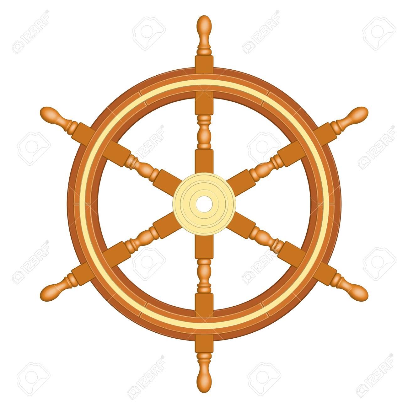 6 spoke wooden ship wheel. Vintage style. 3D effect vector - 142219724