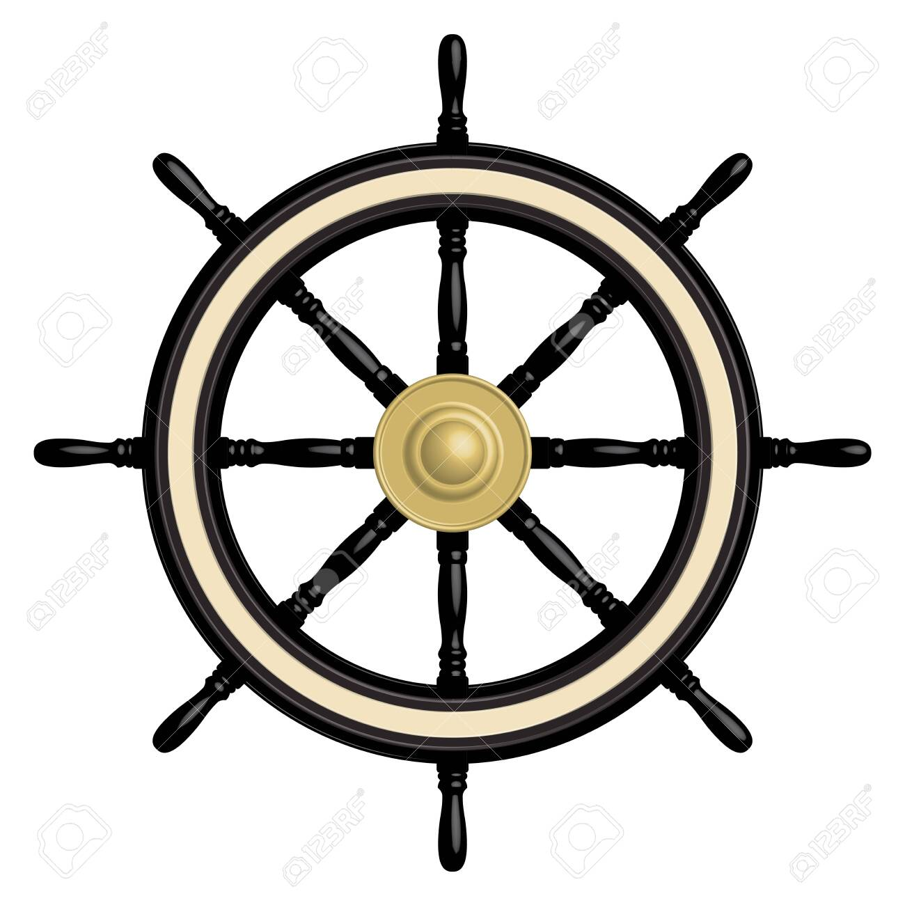 8 spoke black ship steering wheel. 3D effect vector - 144695346