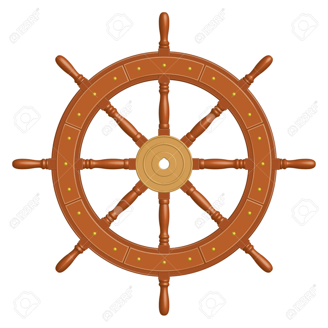 8 spoke wooden ship wheel. Vintage style. - 139157879
