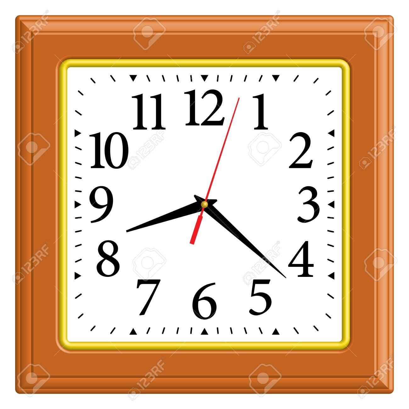 Square Wall Clock Home Decor 3d Effect Vector Illustration Royalty Free Cliparts Vectors And Stock Illustration Image 141508446