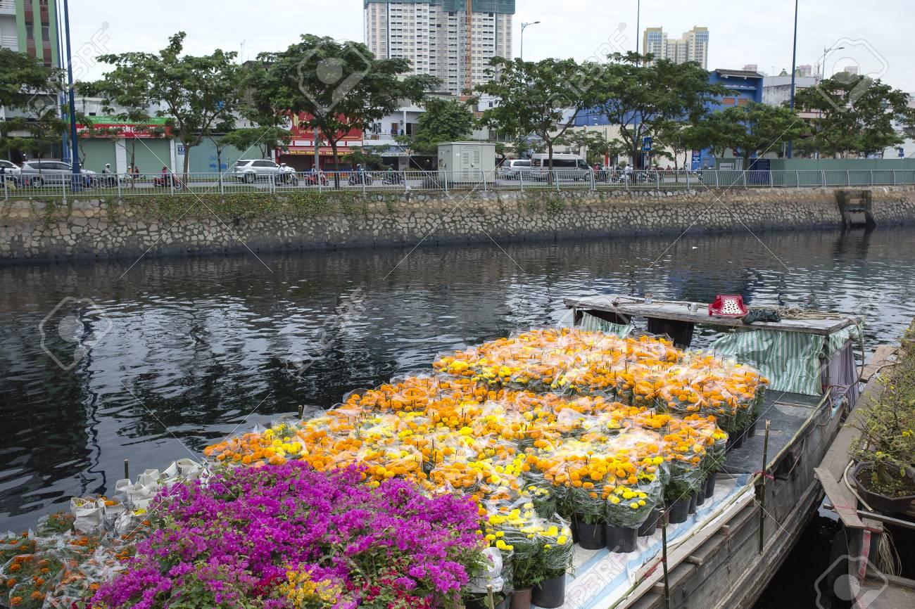 Binh Dong Floating Flower Market.Ho Chi Minh City Vietnam January 24 2017 Flower Boats At