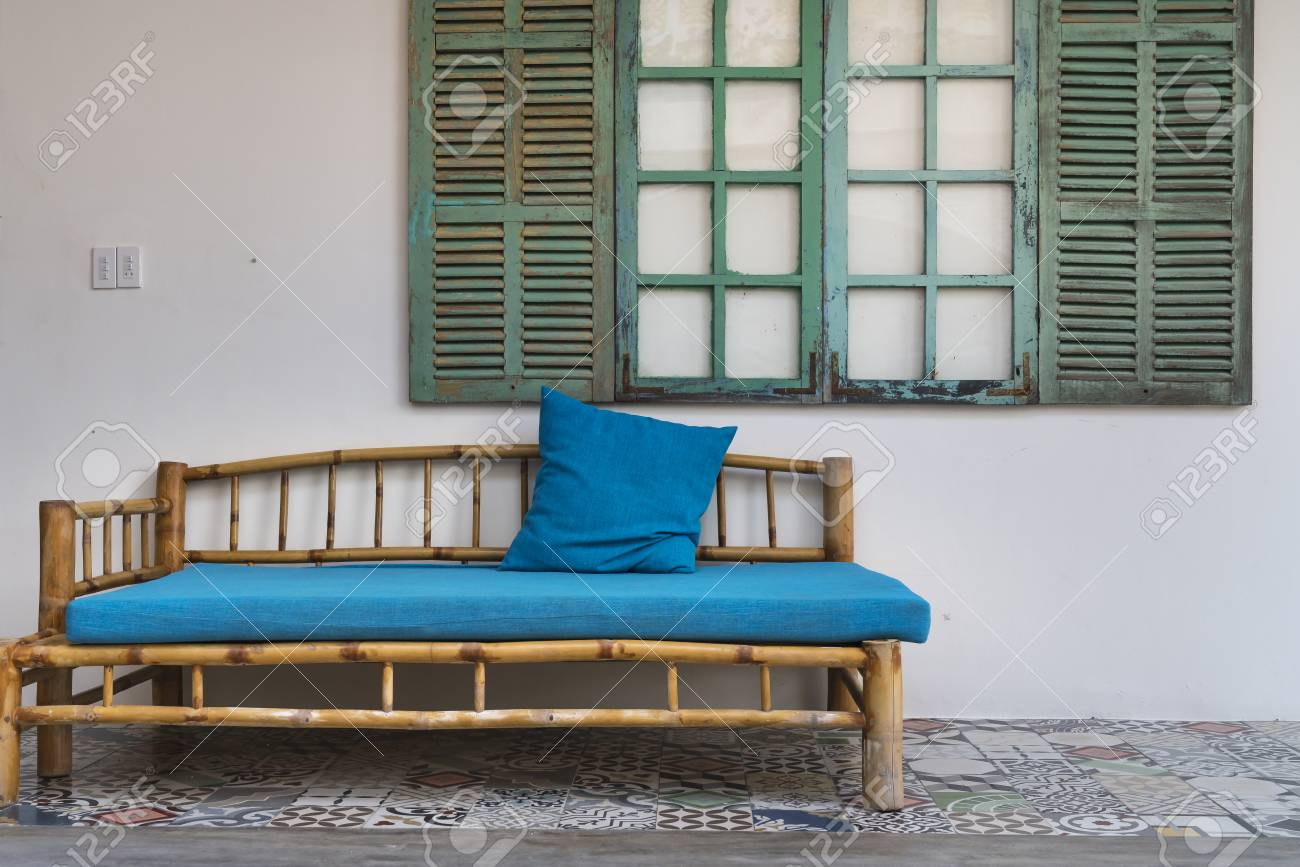 Remarkable Bamboo Sofa Set Under The Wood Window Blue In The Tropical Resort Bralicious Painted Fabric Chair Ideas Braliciousco