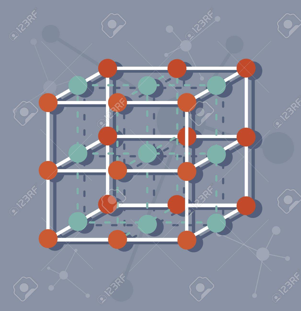 La Estructura Molecular De Un Cubo Elementos Químicos Biología Molecular Fondo Molecular Los átomos Y Las Moléculas En Una Ilustración Vectorial