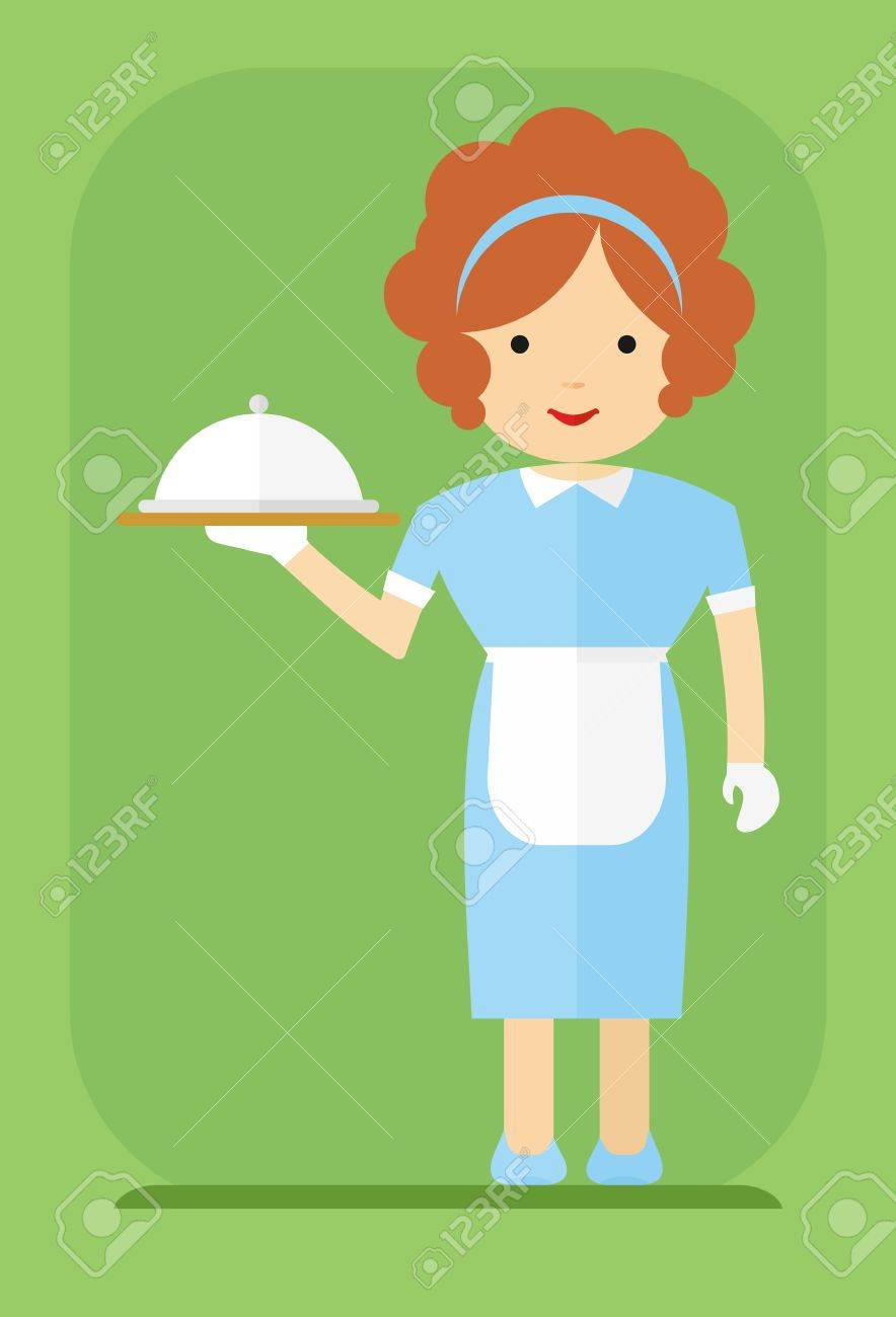 White apron food - Redhead Waitress In A Blue Dress And A White Apron Carries Food Cartoon Flat Vector