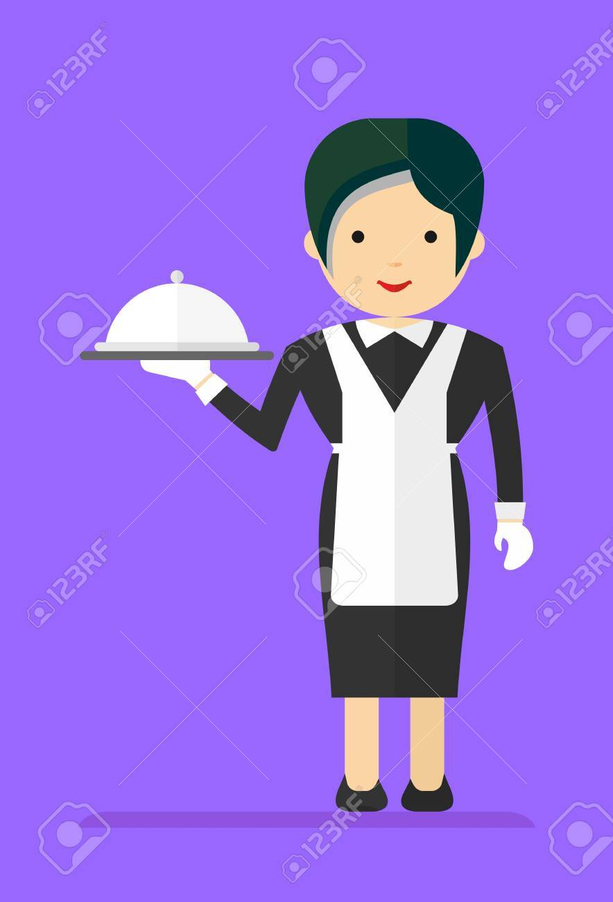Black dress cartoon - Vector Waitress In A Black Dress And A White Apron Carries Food Cartoon Flat Vector Illustration