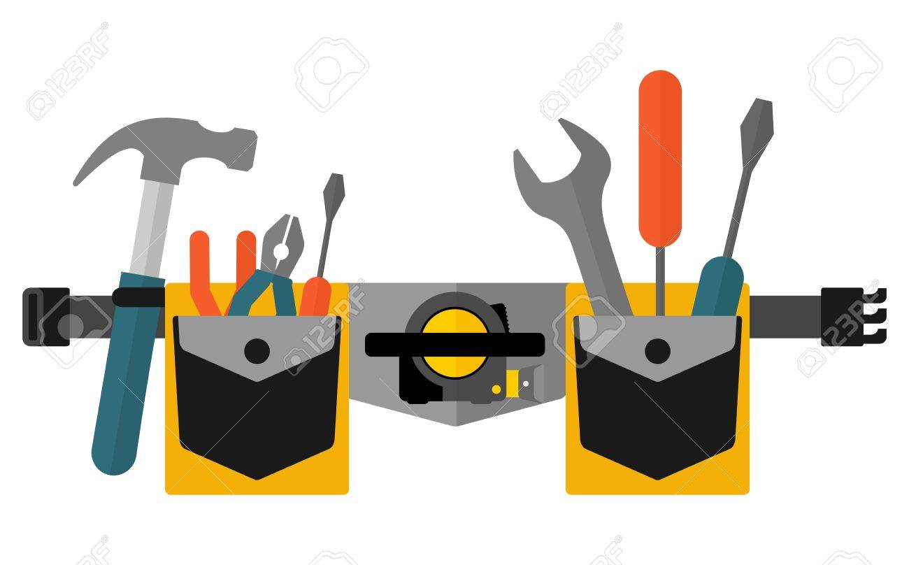 Belt with tools.Conceptual image of tools for repair and construction. Cartoon flat vector illustration. Objects isolated on a background. - 55933695