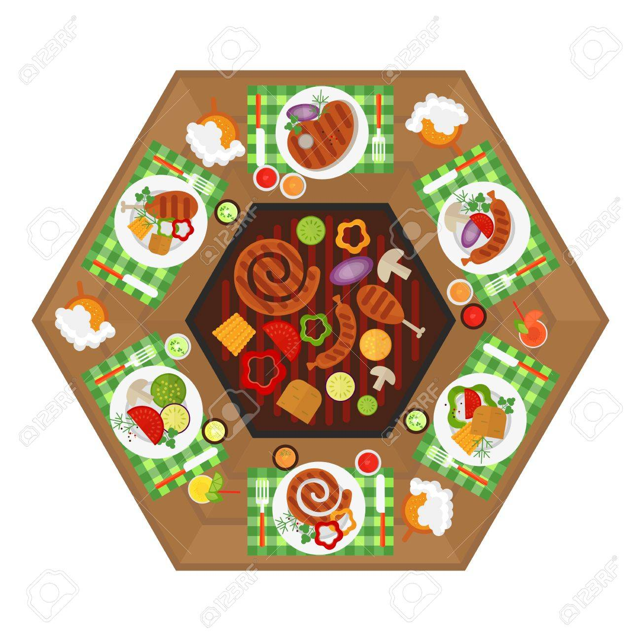 BBQ Grill Table For Party. Top View. Image For Barbecue Party Card, Poster