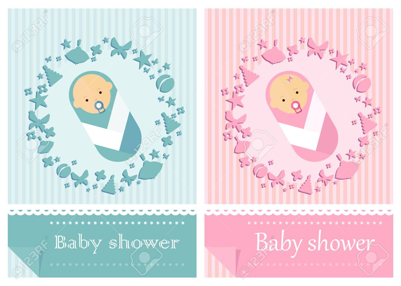 Baby-boy Shower Invitation. Baby-girl Shower Invitation. Template ...