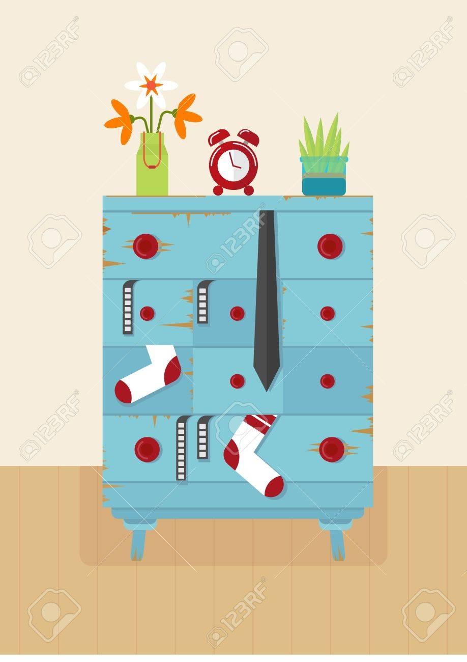 Alte Blaue Kommode Für Kleidung. Möbel Für Wohnzimmer Und ...