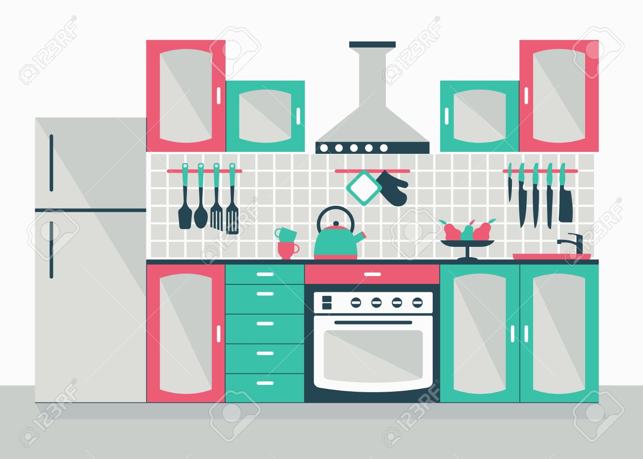 Modern kitchen interior cartoon flat vector illustration objects isolated on a white background