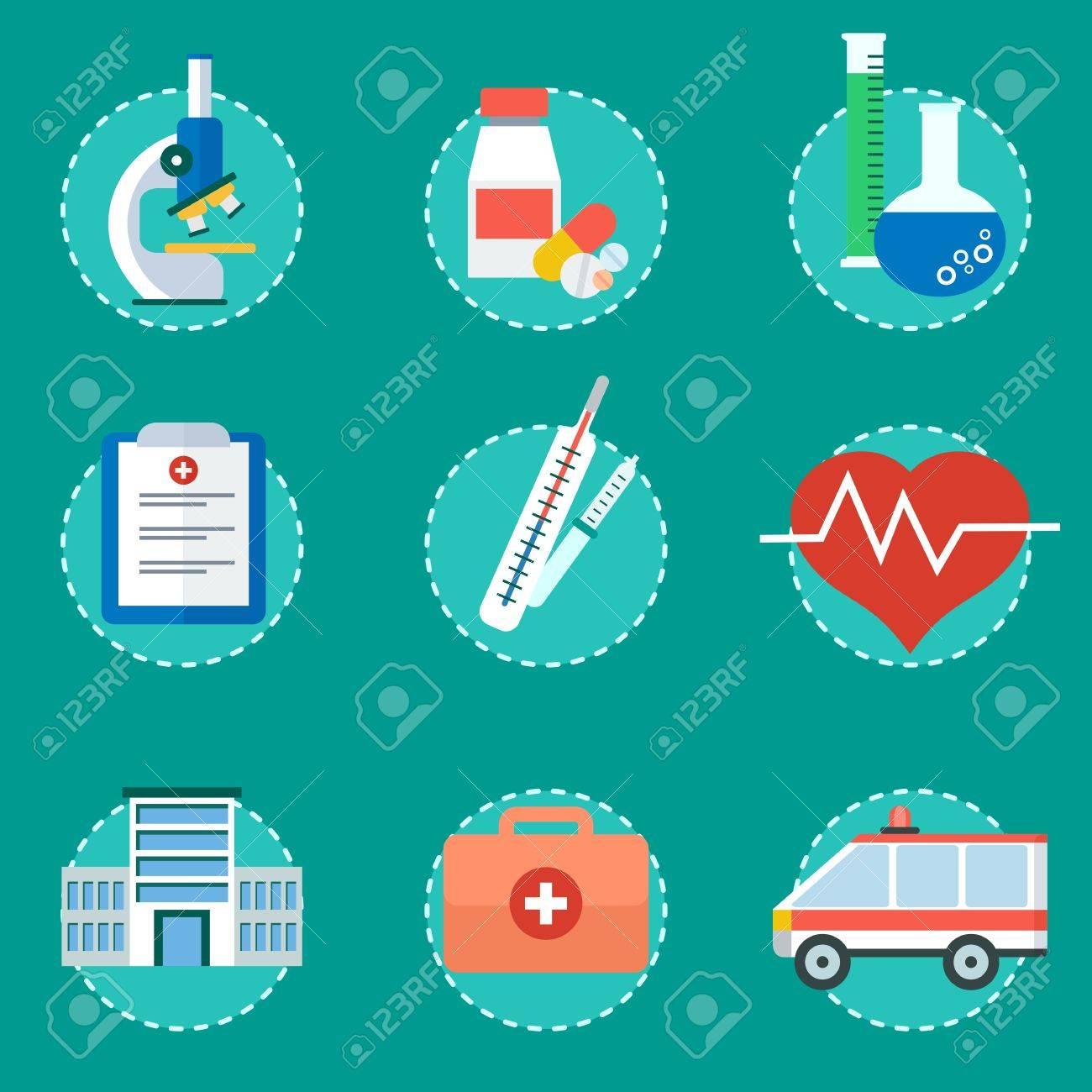 Medicina Concepto De Servicios De Salud Elementos De Infografía Médica Ilustración Vectorial De Dibujos Animados Plana Los Objetos Aislados Sobre