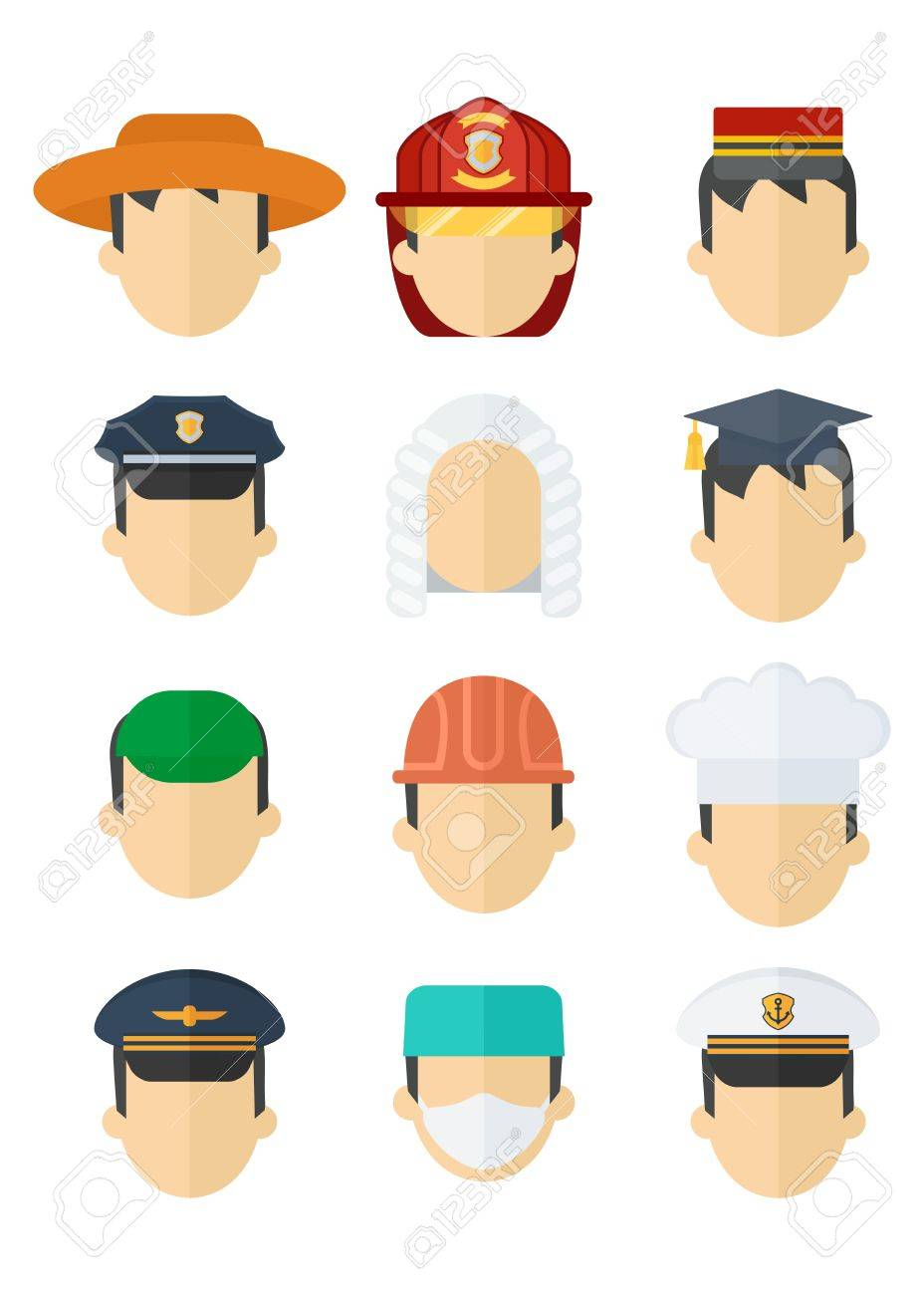 42b8c2b83c9 Flat cartoon vector illustration. Set of hats of different professions.  Work wear and uniform element icons. Objects isolated