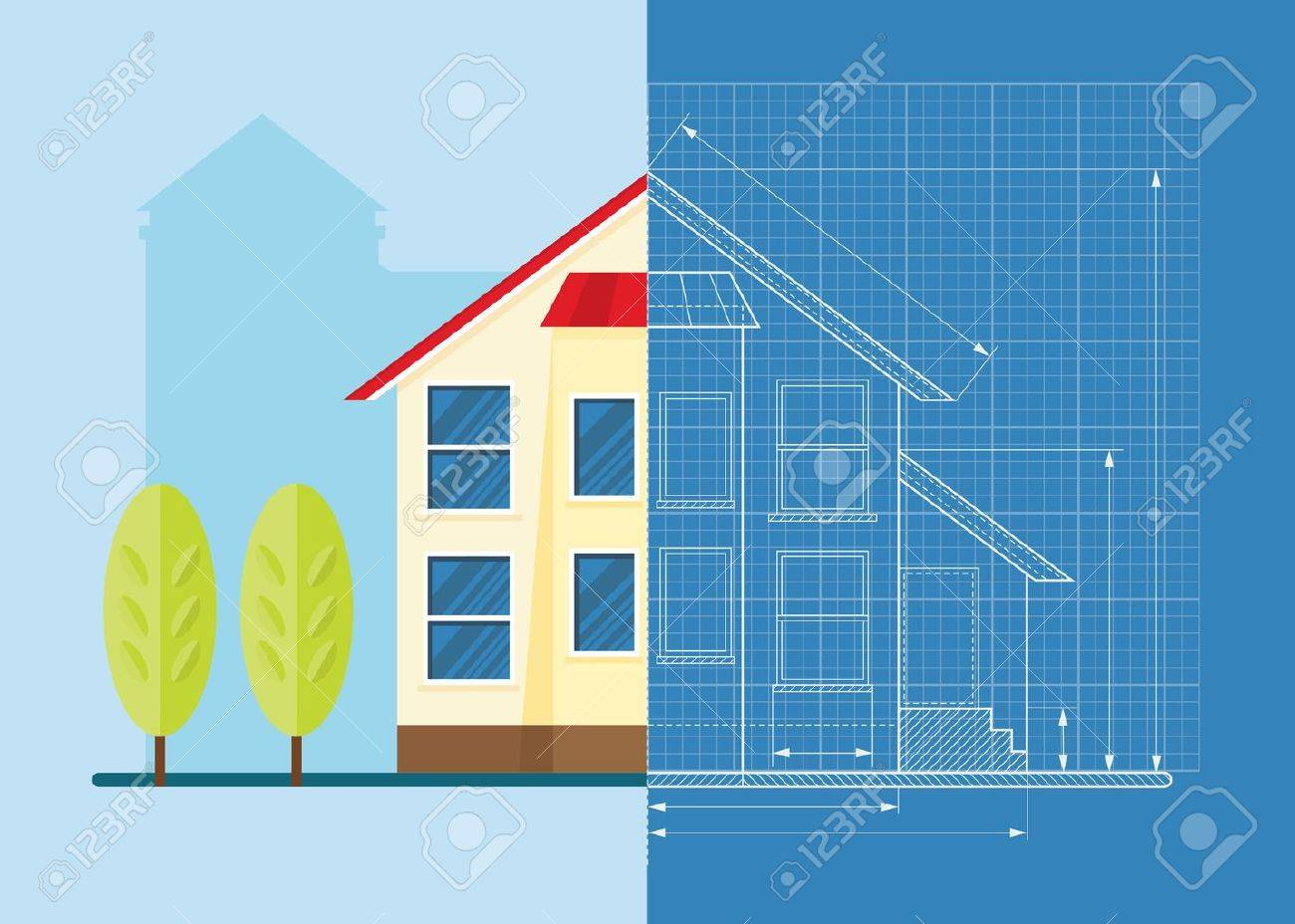 Wireframe blueprint drawing of classic house objects isolated wireframe blueprint drawing of classic house objects isolated on white background flat cartoon vector malvernweather Images
