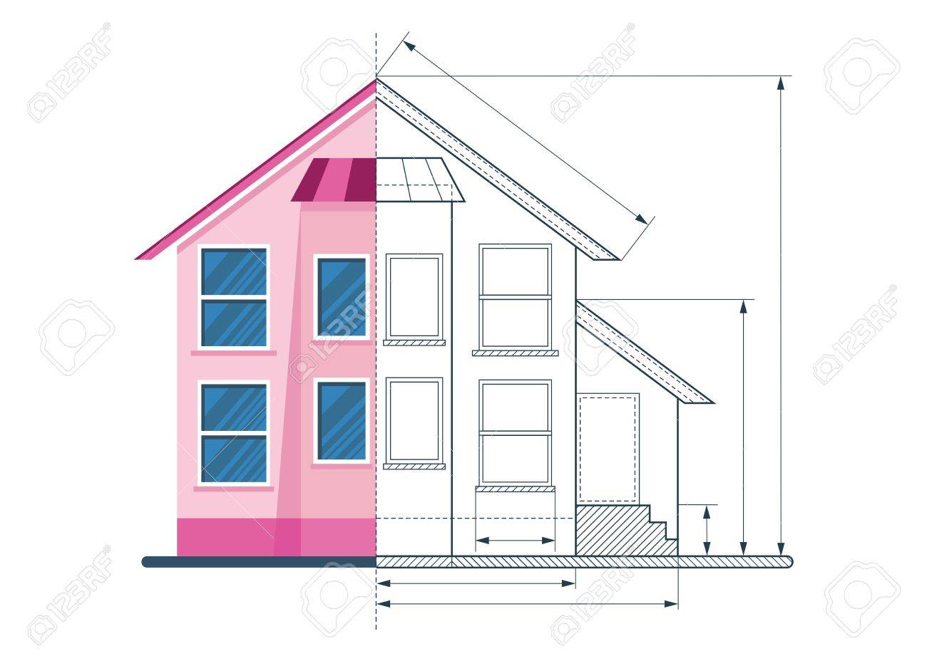 Estructura Metálica Que Drenan El Modelo De La Casa Clásica Objetos Aislados Sobre Fondo Blanco Ilustración Vectorial De Dibujos Animados Plana