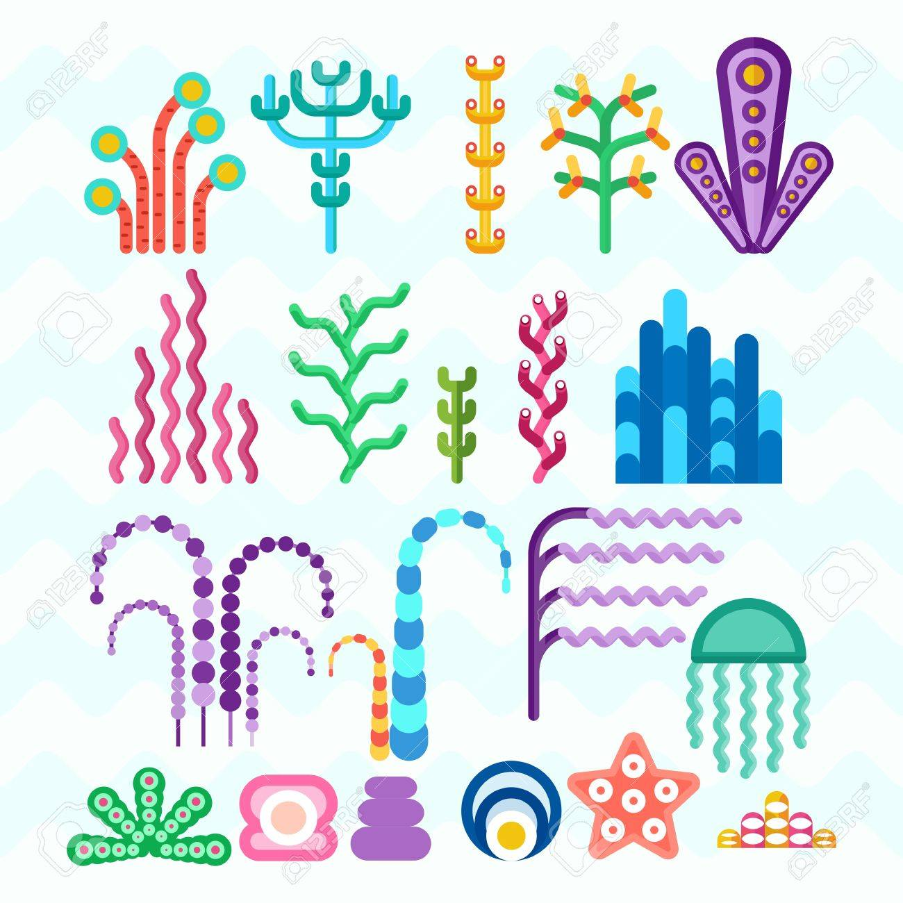 set of underwater animals and plants coral reef cartoon flat