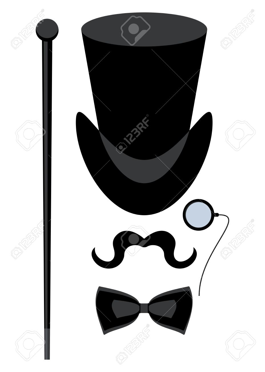 Vintage Silhouette Of Top Hat, Mustaches, Monocle, Cane And A ...