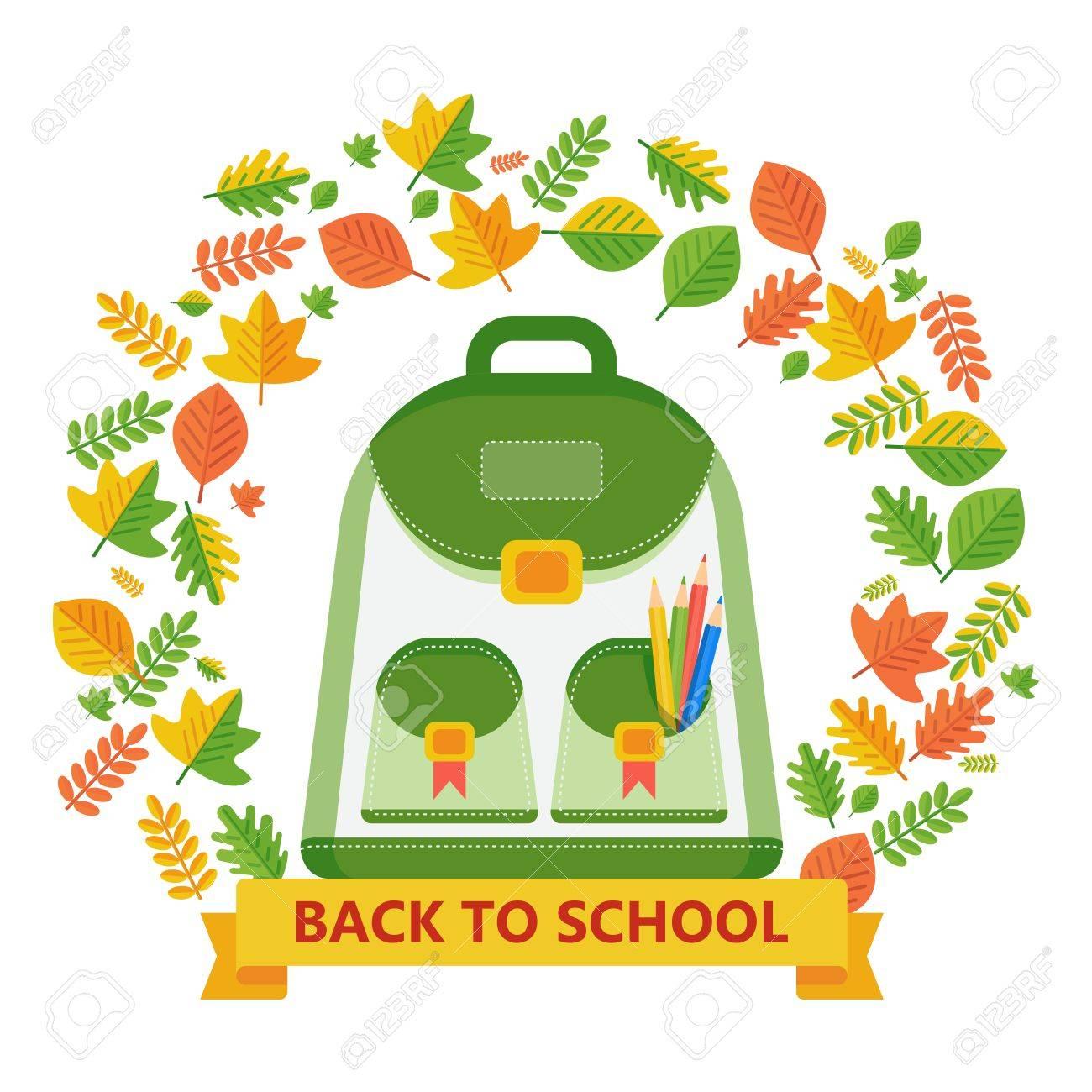 Zurück In Die Schule Banner Mit Rucksack Und Herbst Blätter Rahmen ...